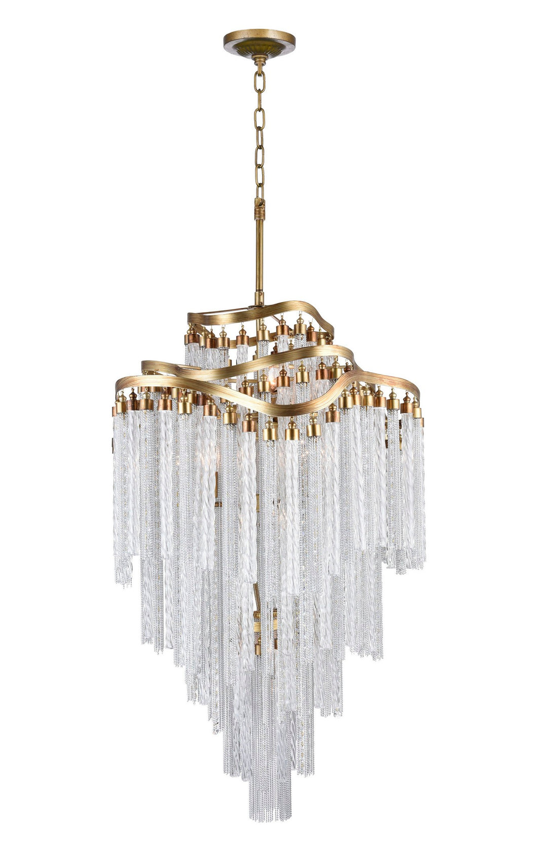 14 LIGHT DOWN CHANDELIER WITH GOLD FINISH - Dreamart Gallery