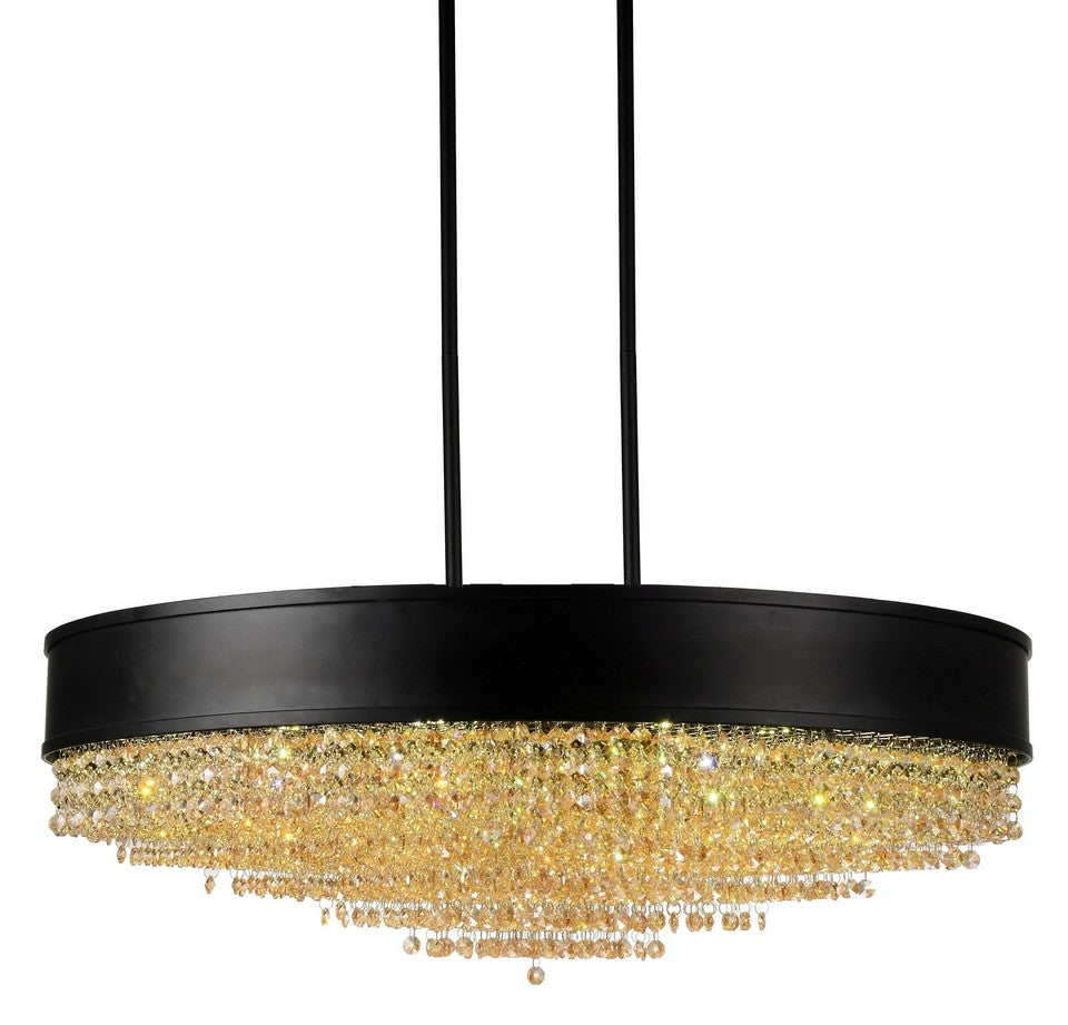 15 LIGHT DRUM SHADE CHANDELIER WITH BLACK FINISH - Dreamart Gallery