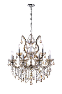 13 LIGHT UP CHANDELIER WITH CHROME FINISH - Dream art Gallery