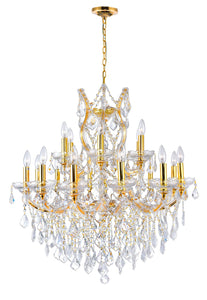 19 LIGHT UP CHANDELIER WITH GOLD FINISH - Dream art Gallery