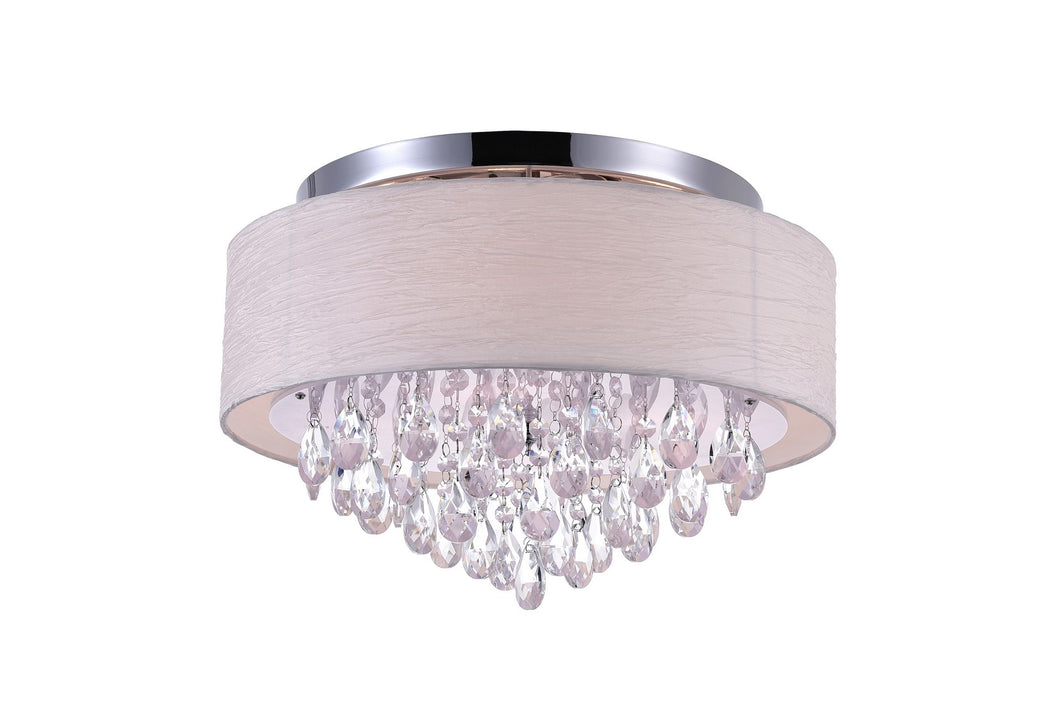 4 LIGHT DRUM SHADE FLUSH MOUNT WITH CHROME FINISH - Dream art Gallery