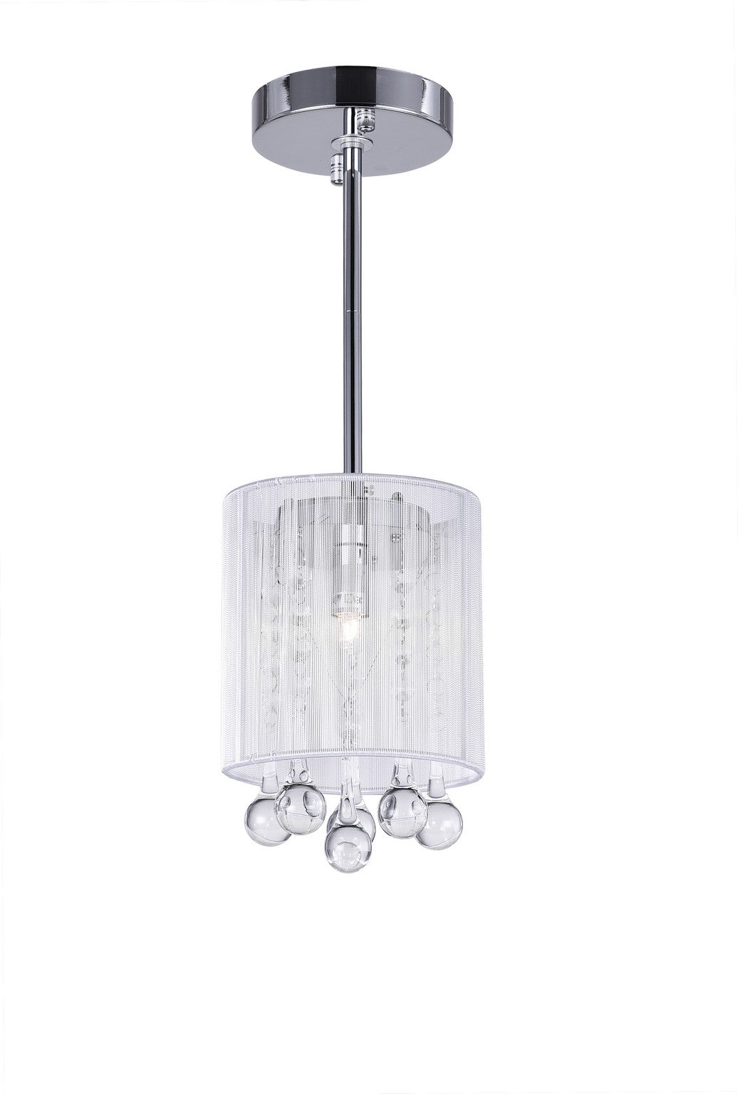 1 LIGHT DRUM SHADE MINI PENDANT WITH CHROME FINISH - Dream art Gallery