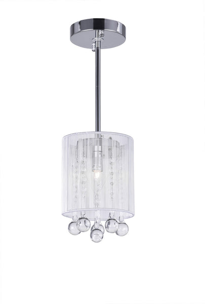 1 LIGHT DRUM SHADE MINI PENDANT WITH CHROME FINISH - Dreamart Gallery