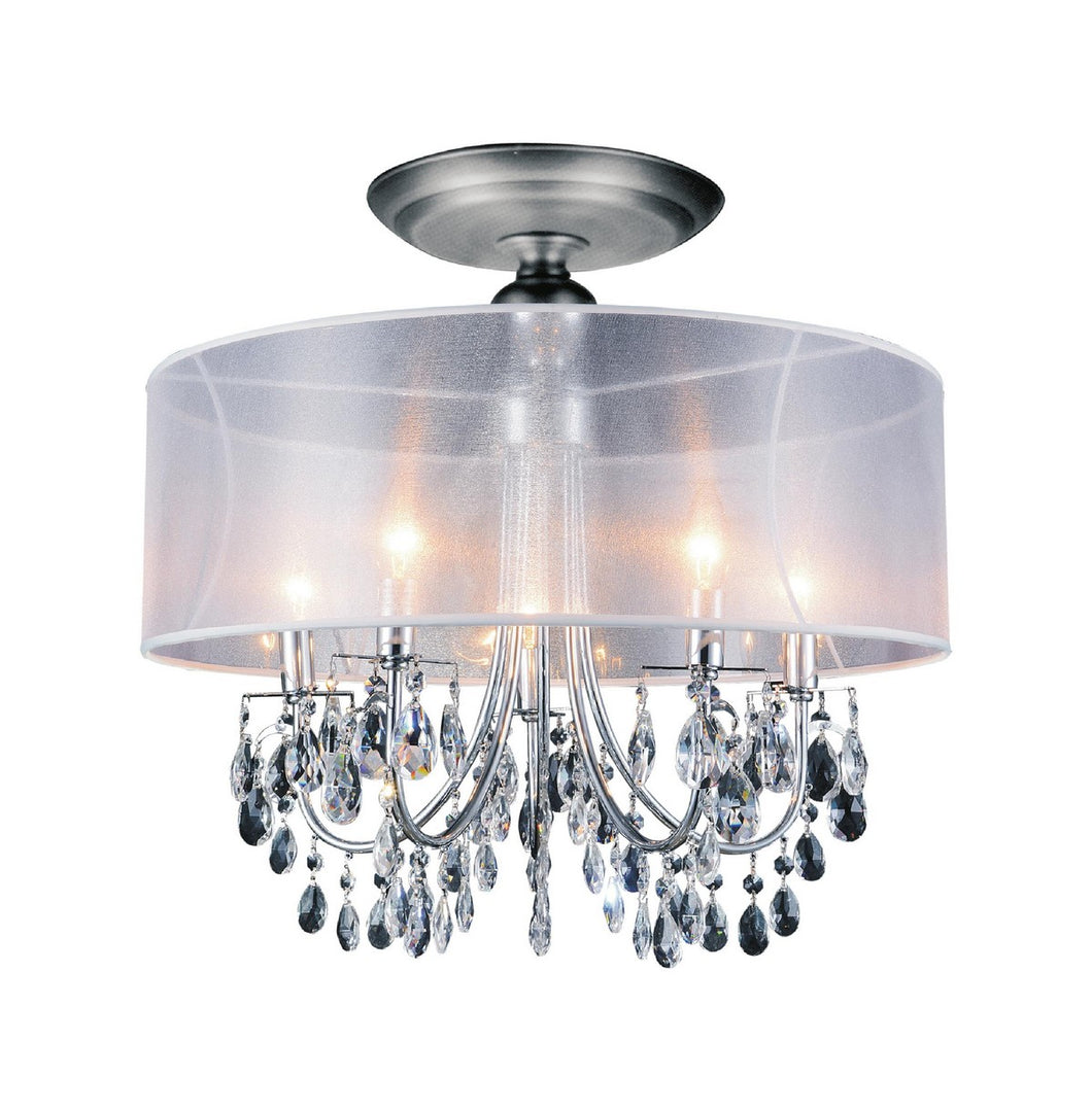 5 LIGHT DRUM SHADE FLUSH MOUNT WITH CHROME FINISH - Dreamart Gallery