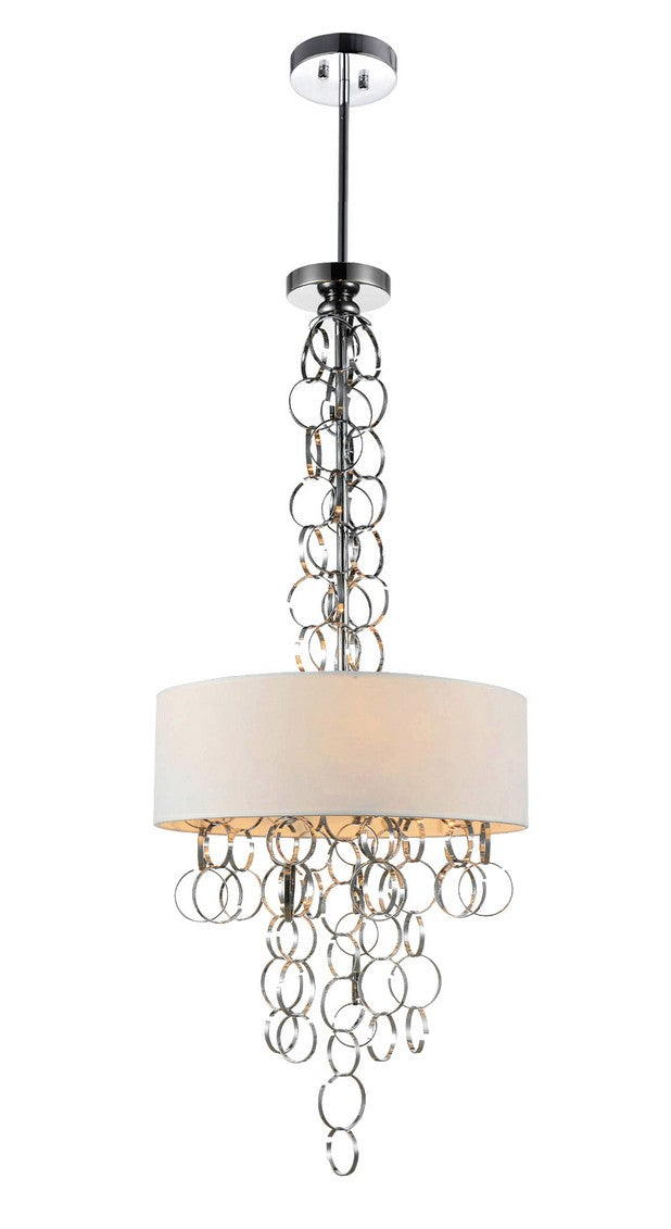 6 LIGHT DRUM SHADE CHANDELIER WITH CHROME FINISH - Dream art Gallery