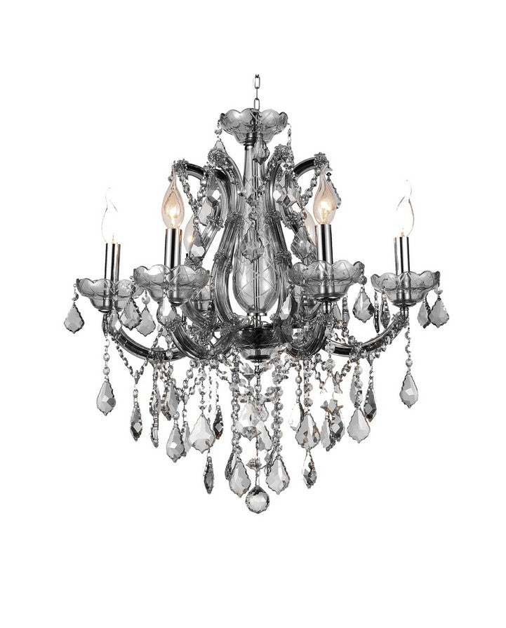 6 LIGHT UP CHANDELIER WITH CHROME FINISH - Dream art Gallery