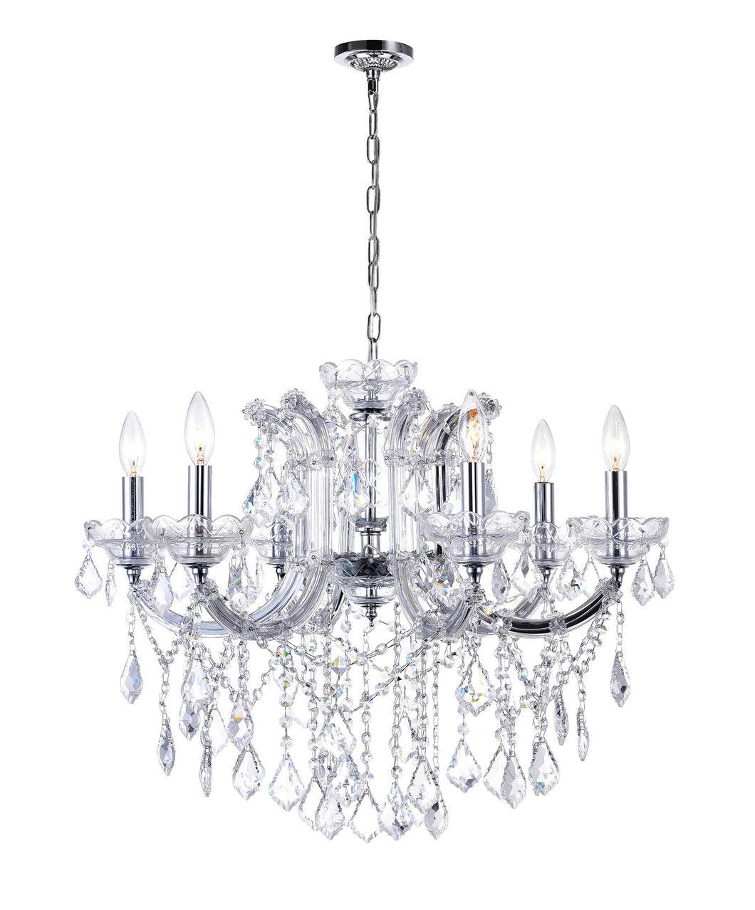 6 LIGHT UP CHANDELIER WITH CHROME FINISH - Dreamart Gallery