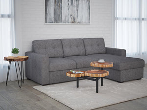 "Tyson Sectional Sofa with Bed & Storage, 93.25"" in Charcoal - Dream art Gallery"