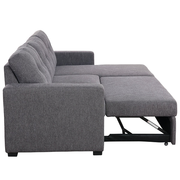 "Tyson Sectional Sofa with Bed & Storage, 93.25"" in Charcoal"
