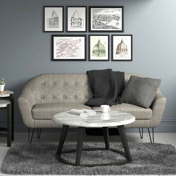 "Scott 3 Seater Sofa, 73.75"" in Grey"