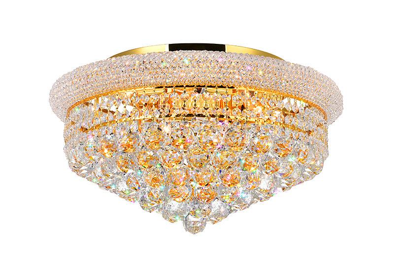 8 LIGHT FLUSH MOUNT WITH GOLD FINISH - Dreamart Gallery