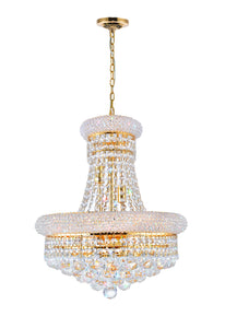 8 LIGHT DOWN CHANDELIER WITH GOLD FINISH - Dream art Gallery