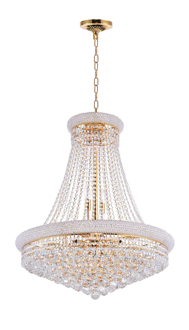 18 LIGHT DOWN CHANDELIER WITH GOLD FINISH - Dream art Gallery