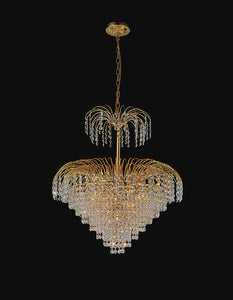 11 LIGHT DOWN CHANDELIER WITH GOLD FINISH - Dream art Gallery