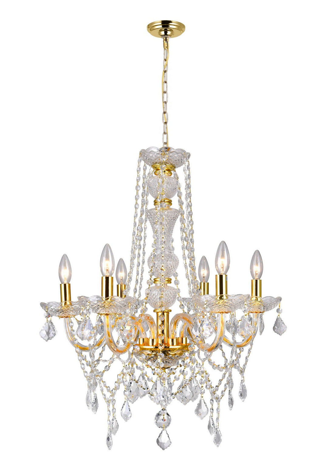 6 LIGHT DOWN CHANDELIER WITH GOLD FINISH - Dream art Gallery