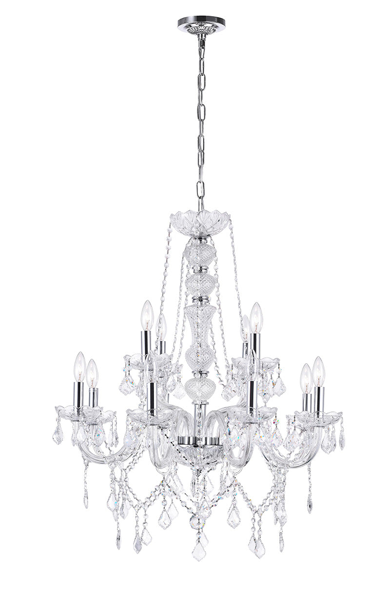 12 LIGHT DOWN CHANDELIER WITH CHROME FINISH - Dreamart Gallery