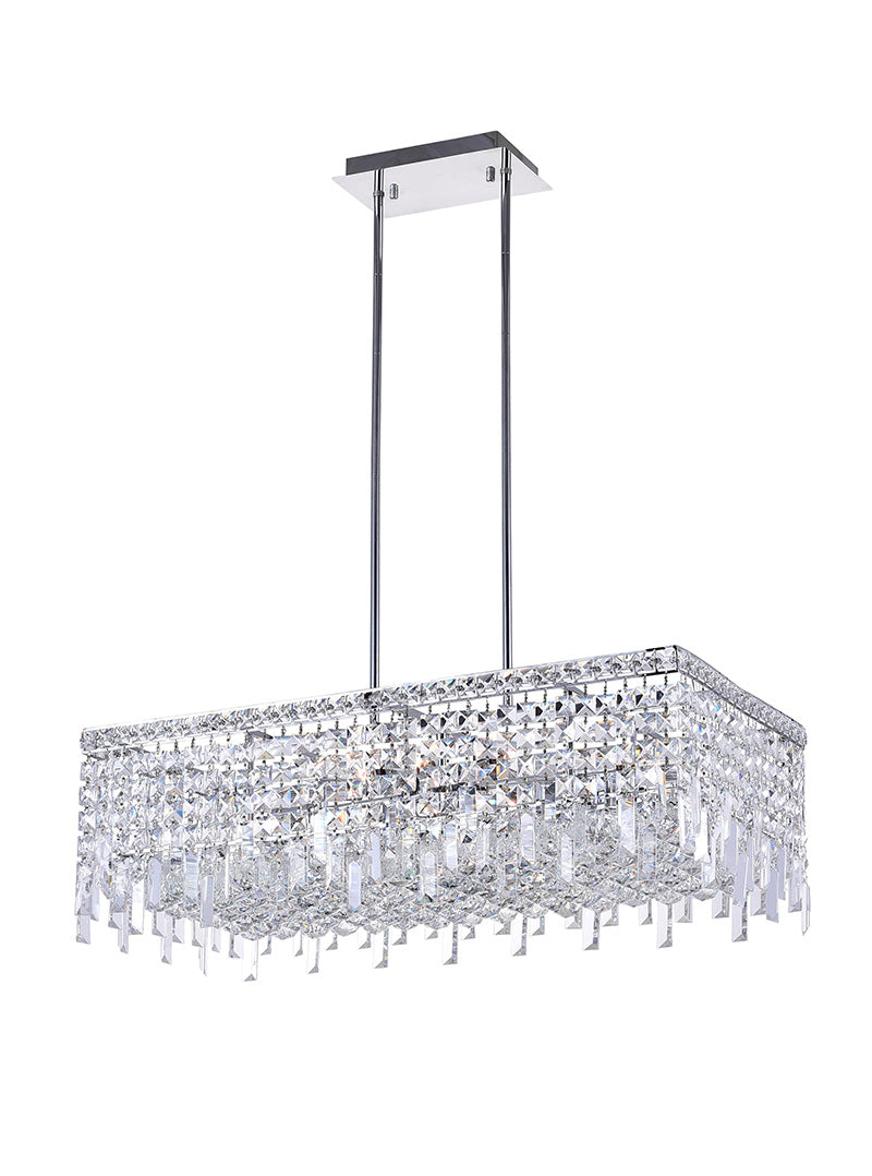 10 LIGHT DOWN CHANDELIER WITH CHROME FINISH - Dream art Gallery