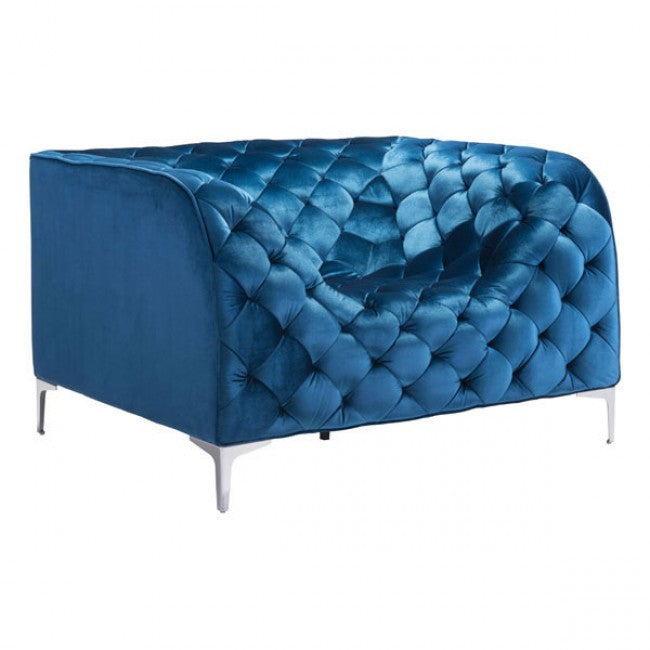 Providence Arm Chair Neon Blue Velvet - Dream art Gallery