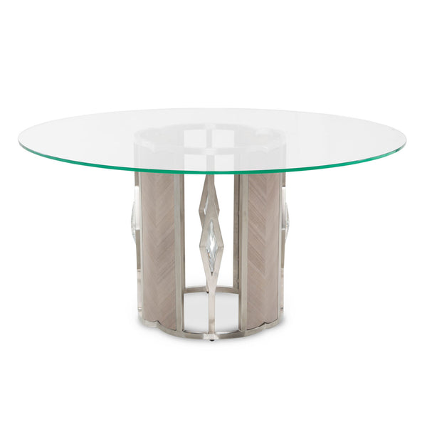 Round 60 Glass Dining Table (2 Pc) - Dreamart Gallery