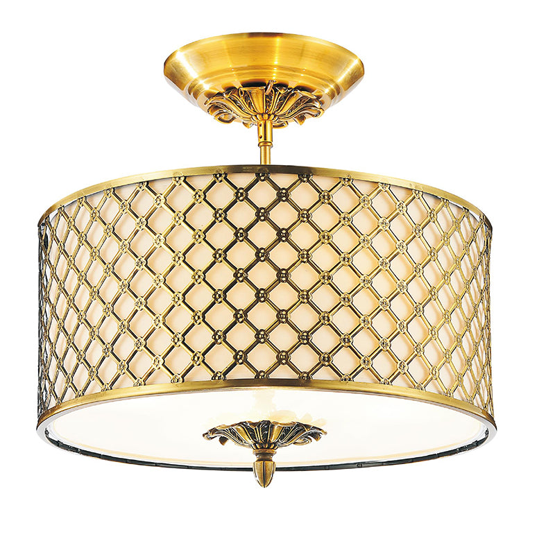 3 LIGHT DRUM SHADE FLUSH MOUNT WITH FRENCH GOLD FINISH - Dream art Gallery