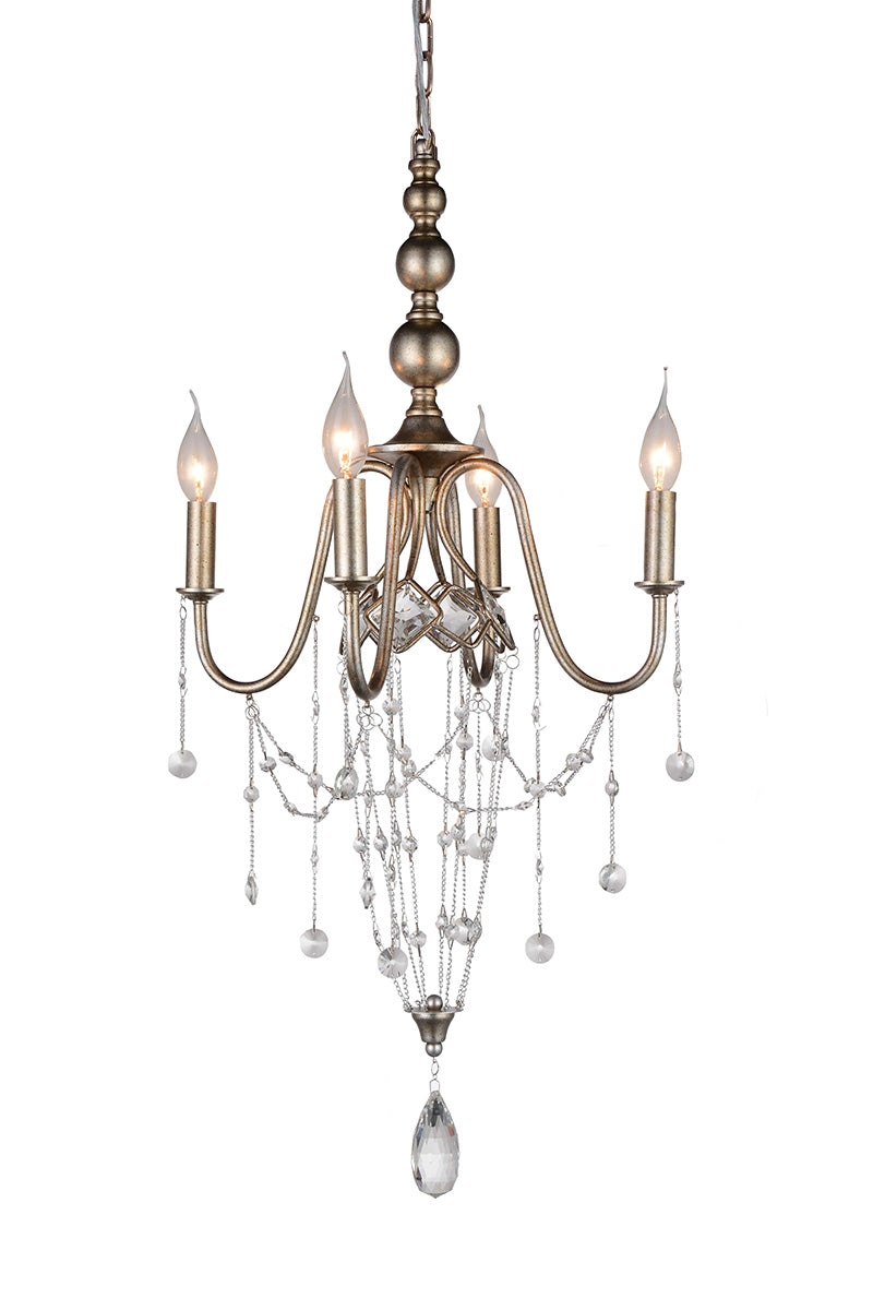 4 LIGHT UP CHANDELIER WITH SPECKLED NICKEL FINISH - Dream art Gallery
