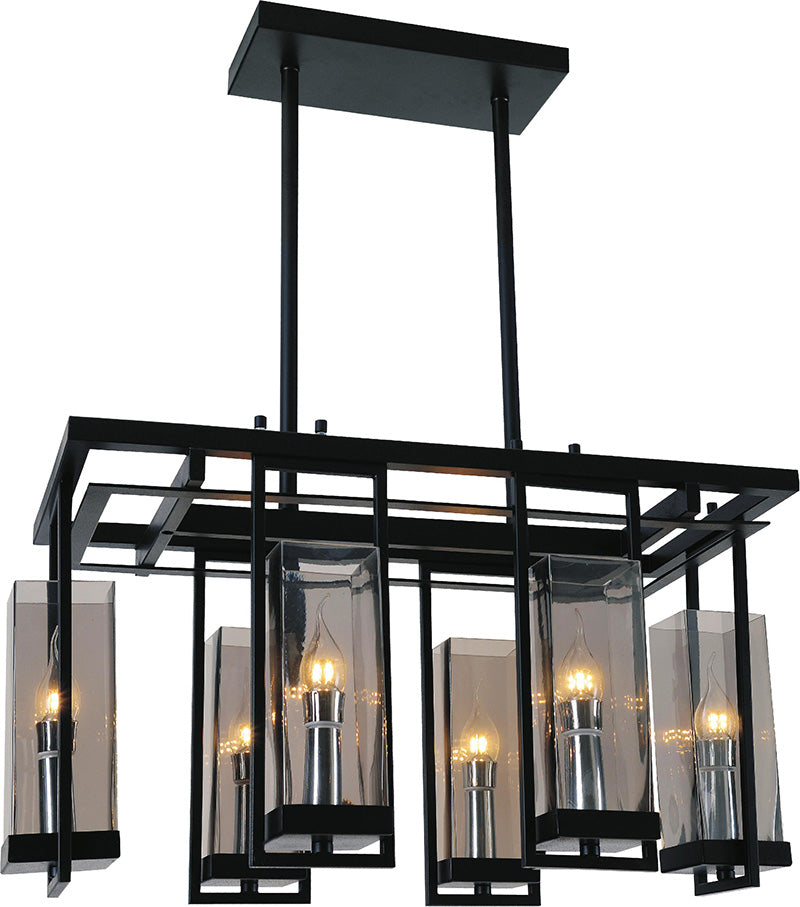 6 LIGHT UP CHANDELIER WITH BLACK FINISH - Dreamart Gallery