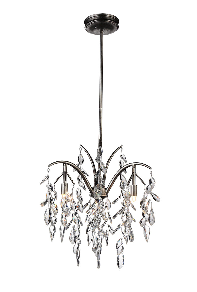 3 LIGHT DOWN CHANDELIER WITH SILVER MIST FINISH - Dreamart Gallery