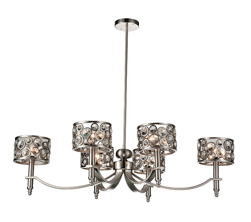 6 LIGHT UP CHANDELIER WITH SATIN NICKEL FINISH - Dream art Gallery