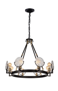 8 LIGHT UP CHANDELIER WITH BROWN FINISH - Dream art Gallery