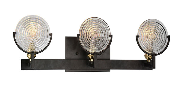 3 LIGHT WALL SCONCE WITH BROWN FINISH