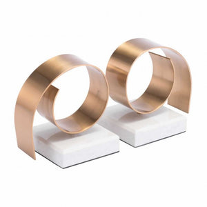 Rizz Bookends White & Gold - Dream art Gallery
