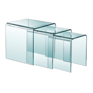 Bent Glass 3Pc Nesting Table