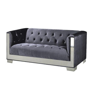 Chloe Charcoal Velvet Loveseat