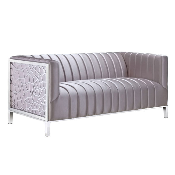 Conrad Silver Satin Loveseat - Dream art Gallery