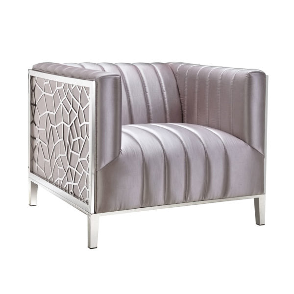 Conrad Silver Satin Accent Chair - Dream art Gallery