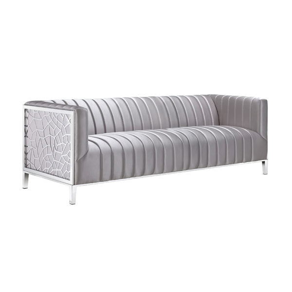 Conrad Sofa Silver Satin - Dream art Gallery