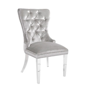 Euphoria E-Grey Velvet Steel Dining Chair - Dreamart Gallery