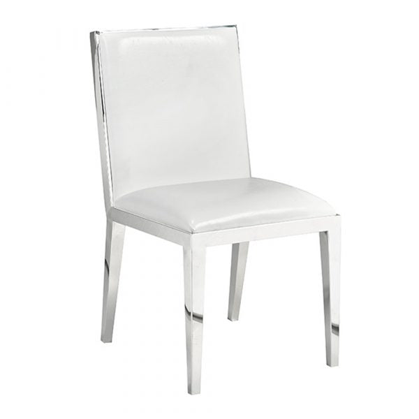 Emario White Leatherette Dining Chair - Dream art Gallery