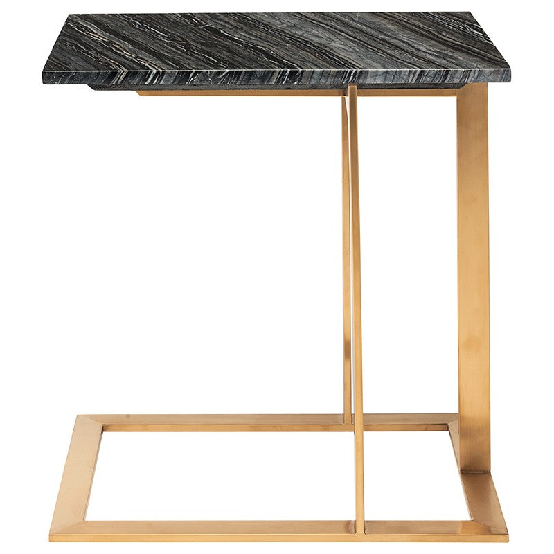 DELL SIDE TABLE BLACK WOOD VEIN - Dreamart Gallery
