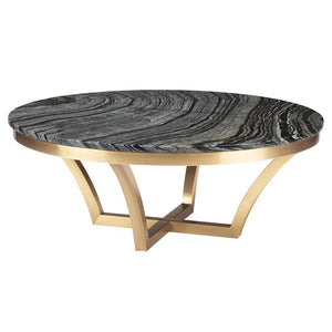 AURORA COFFEE TABLE BLACK WOOD VEIN GOLD - Dream art Gallery