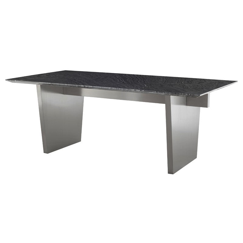 AIDEN DINING TABLE BLACK WOOD VEIN - Dream art Gallery