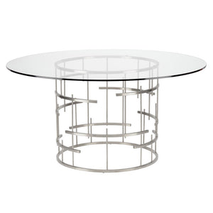 ROUND TIFFANY DINING TABLE SILVER - Dream art Gallery