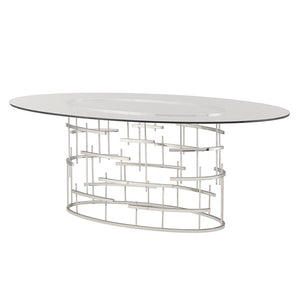 OVAL TIFFANY DINING TABLE SILVER - Dream art Gallery