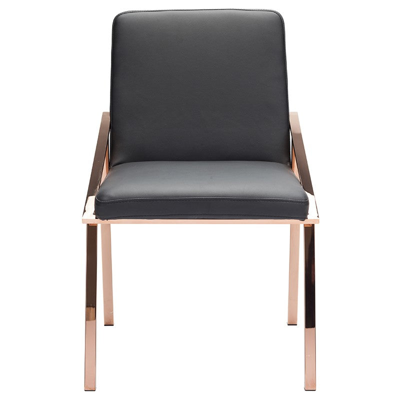 NIKA DINING CHAIR BLACK ROSE GOLD LEGS - Dream art Gallery