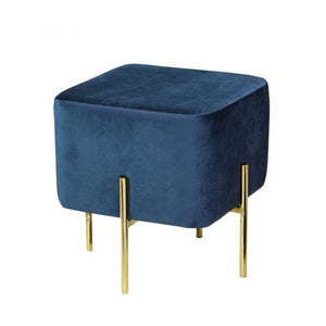 Kube Blue Velvet Gold Ottoman S - Dream art Gallery