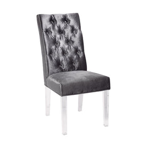 Leslie Charcoal Velvet Acrylic Dining Chair - Dream art Gallery