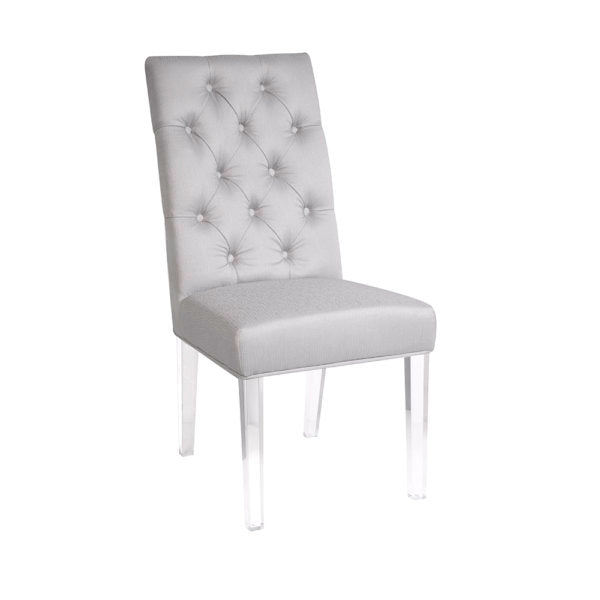 Leslie Satin Steel Color Acrylic Dining Chair - Dream art Gallery