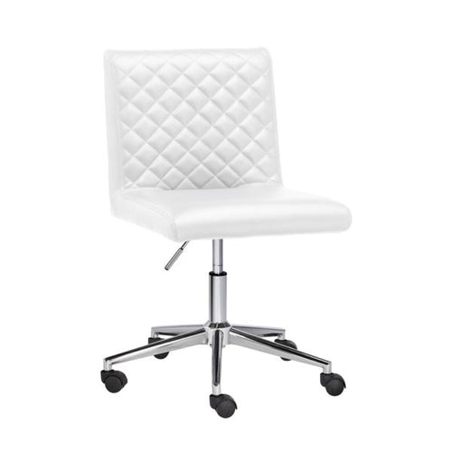 Quilted White Office Chair