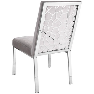 Wellington Grey Velvet Dining Chair - Dream art Gallery