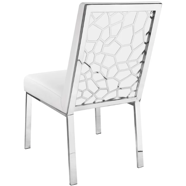 Wellington White Leatherette Dining Chair - Dream art Gallery